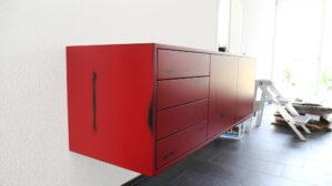 Sideboard Mdf schwarz mit Bordeaux rot